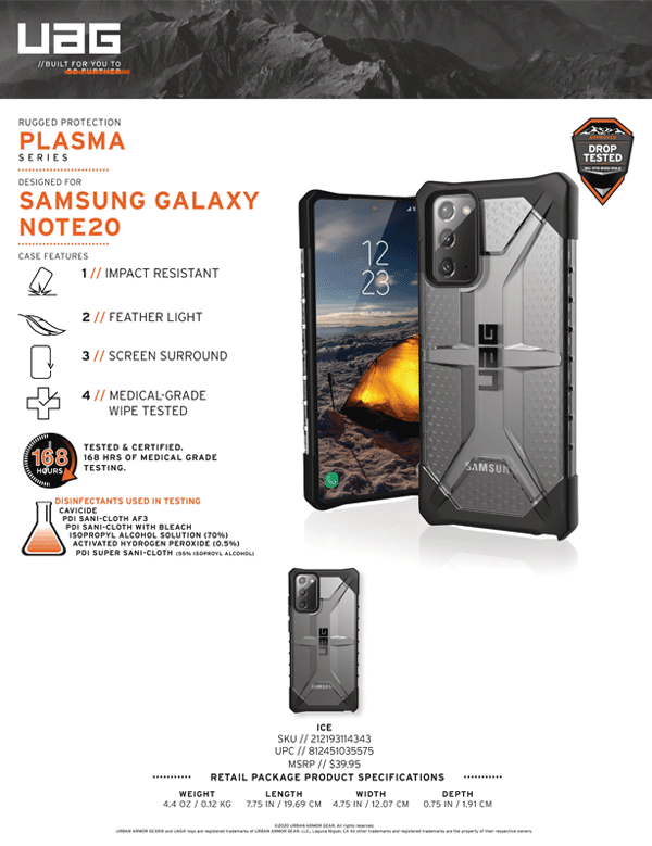 Op lung Samsung Galaxy Note 20 UAG Plasma Series 12 bengovn