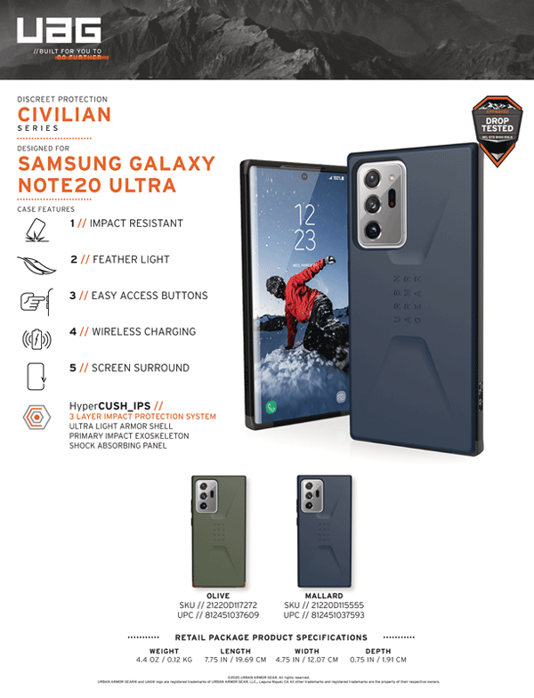 Op lung Samsung Galaxy Note 20 Ultra UAG Civilian Series 20 bengovn