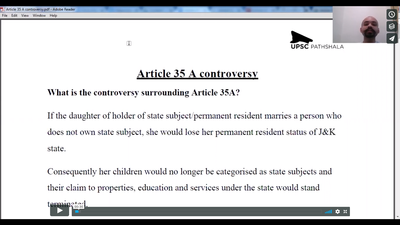 Article 35-A Controversy