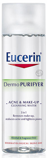 hot humid skincare essentials Eucerin DermoPURIFYER Acne & Make-up Cleansing Water 1