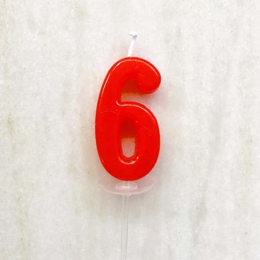 數字蠟燭 - 6 (單支)顏色以現場為主