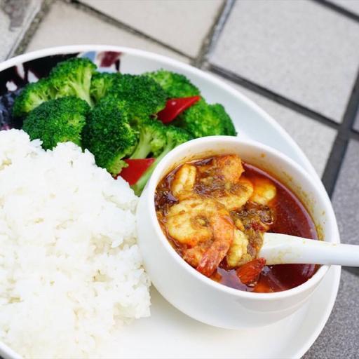 緬甸咖哩鳳尾蝦飯(辣)