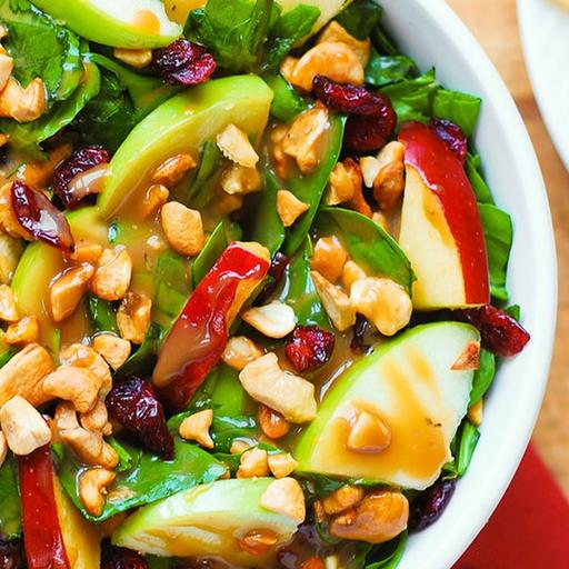 Apple Cranberry Salad with cashew nuts