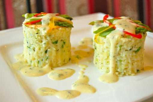 Asparagus Rice with Wine Sauce