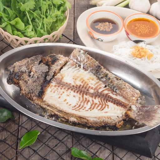 BBQ Fish served with Thai Herbs and Vegetables