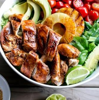 Barbecue Chicken Salad with Grilled Pineapple, Green Salad, and Avocado with Balsamic Lime Dressing (13-Dec)