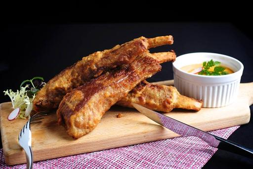 Battered Pork Ribs with Jalapeno Cheese Dip