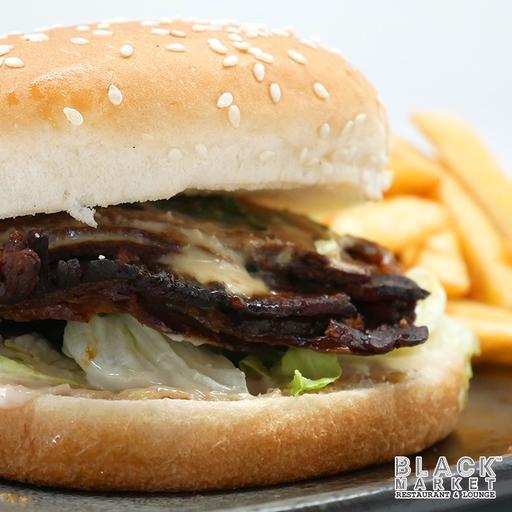 Black Market Signature Pork Burger with Fries (Non Halal)