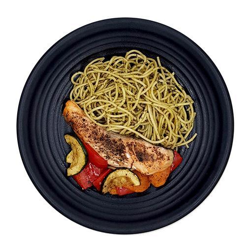 Black Pepper Salmon Pesto Spaghetti