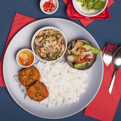 Chicken Laarb, Stir-fry Kailan Crispy Pork & Fish Cakes