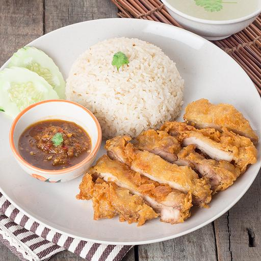 Crispy Fried Chicken Chop served with Rice