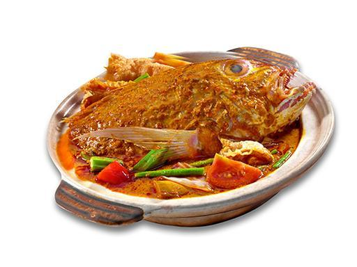 Curry Fish Head(Steamed patin fish with omelette) 咖哩鱼头