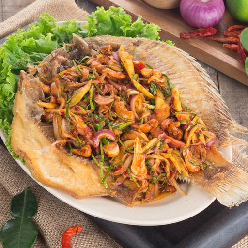 Deep Fried Fish with Thai Herb Salad
