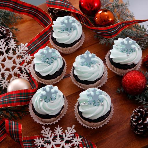 Glittering Snow Flake Cupcakes (20pcs)