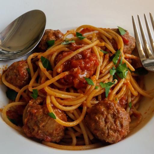 Grass Fed Meatballs spaghetti