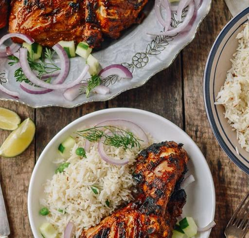 Grilled Chicken Tikka with Cucumber and Tomato Raita with Cumin Infused Rice (17-June)