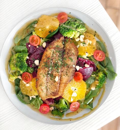 Grilled Seabass with Rainbow Vegetables