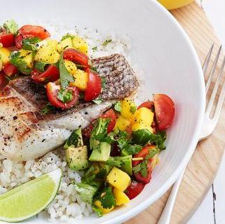 Grilled Fish Fillet with Avocado Mango Salsa & Coconut Lime Basmati Rice (18-June)