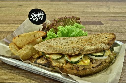 Hoisin Chicken,Egg, Grilled Zucchini & Cheese