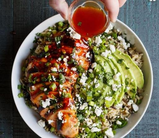 Honey Lime Chilli Chicken Rice Bowl with Avocado Parsley and Spring Onion (22-Mar)