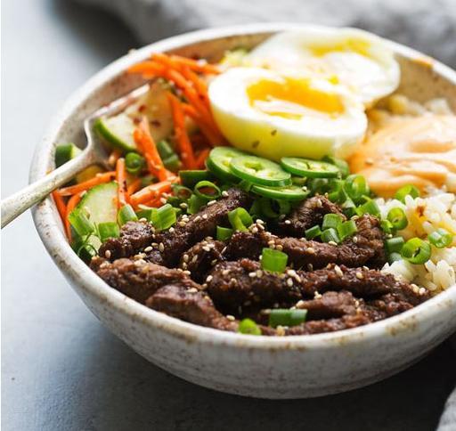 Korean Beef Bulgogi Bowl with Garlic Rice and Sesame Pickled Cucumber (21-Mar)