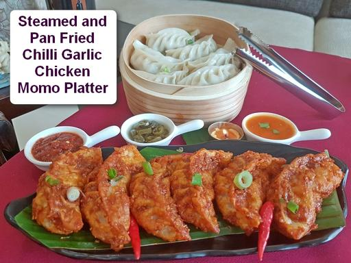 Mixed Platter Chicken Momos Chilli Garlic - 6 Pcs Steamed & 6 Pcs Chilli Garlic Pan Fried