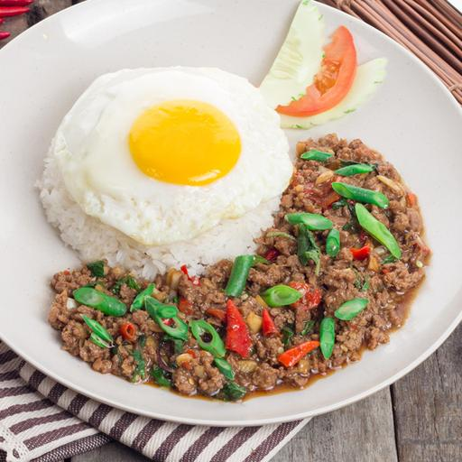 Pad Krapow Beef with Rice and Fried Egg