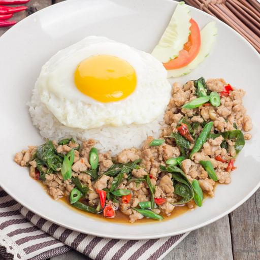 Pad Krapow Chicken with Rice and Fried Egg