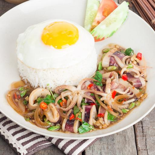 Pad Krapow Squid with Rice and Fried Egg