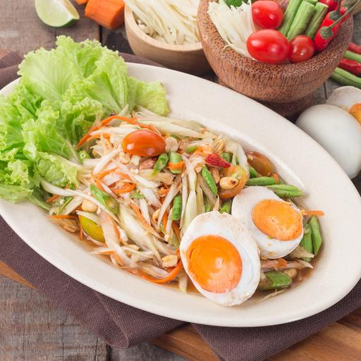 Papaya Salad with Salted Eggs