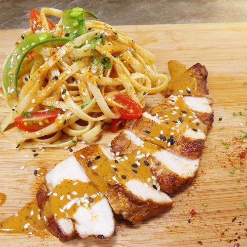 Paprika Grilled Chicken Linguine with Creamy Cumin Sauce (20-June)