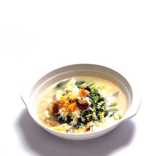Poached Spinach with Golden & Silver Eggs 金银蛋浸苋菜