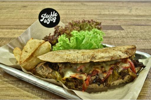 Pulled Beef, Roast Pepper & Cheese