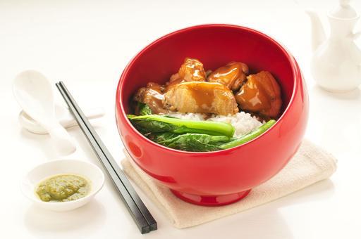 Rice Wine Baked Chicken on Rice 米酒鸡饭