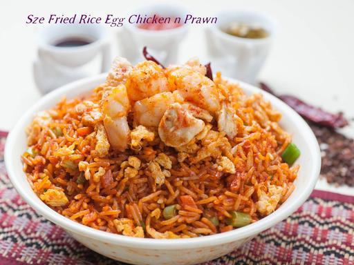 Szechwan Fried Rice (Mixed - Egg, Chicken & Prawn)