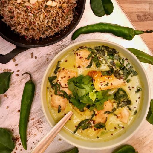 Saturday: Vegan Green Curry & Nasi Ulam
