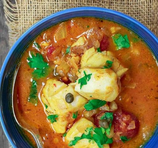 Sicilian Fish Stew with Capers, Olives, Plum Tomato and Toasted Oregano Bread (14-Dec)