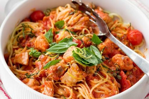 Spaghetti with White Fish, Caper and Olives in Pomodoro Sauce (18-Jan)