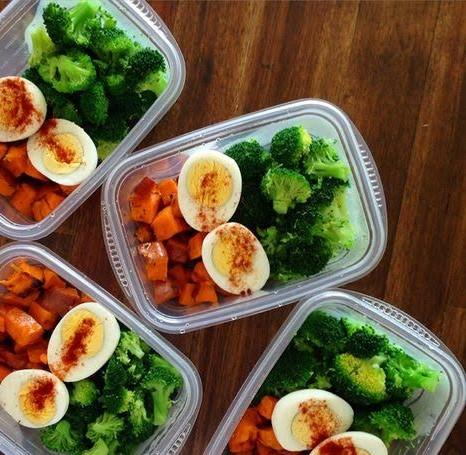 #Steam Sweet Potato, Hard Boiled Egg with Chili Salt and Broccoli [cp]