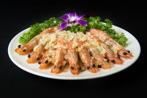 Steamed Prawns with Minced Garlic 蒜茸蒸虾