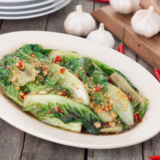 Stir Fried Yau Mak with Garlic & Chili