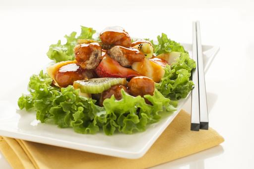 Sweet and Sour Pork Stir Fried with Fresh Fruits 鲜果炒咕佬肉