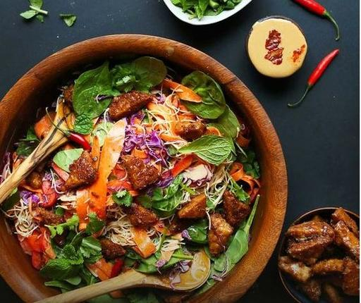 Tempeh Salad with Thai Herbs and Chilli Peanut Dressing (21-June)