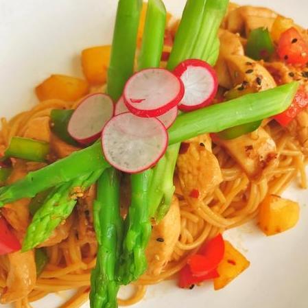 Teriyaki Chicken Spaghetti (Cals:410.2 P:60.1g C:32.1g F:4.6g)