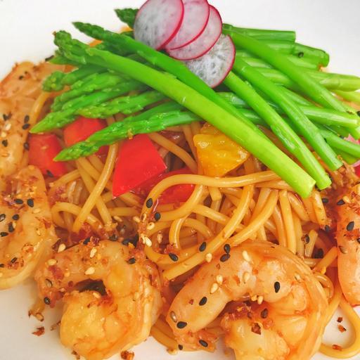 Teriyaki Prawn Spaghetti (Cals:366  P:19.1g C:68.2g F:1.96g)