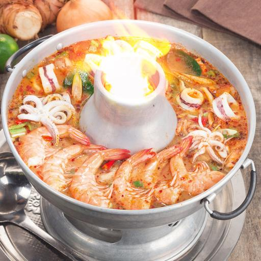 Tom Yum Creamy Soup with Seafood