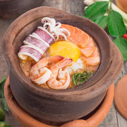 Tom Yum Porridge with Seafood