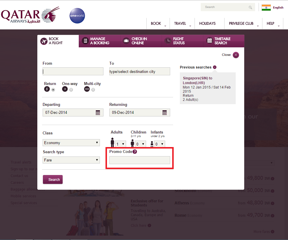 How to use a Qatar Airways coupon