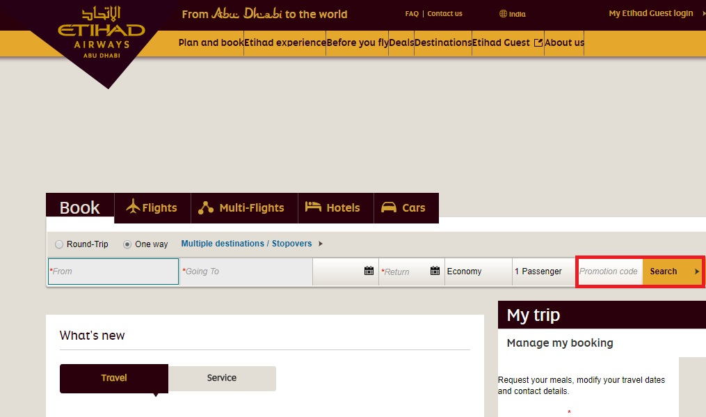 How to use a Etihad Airways coupon