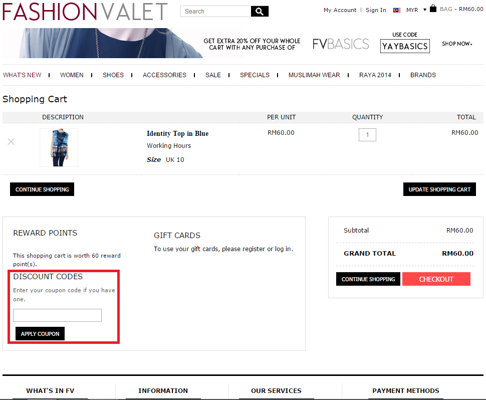 How to use a Fashion Valet coupon